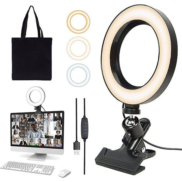 ELMOS リングライト2021最新版・収納バッグ付きLEDリングライト 女優ライト 自撮りライト 撮影用ライト(クリップタイプ)