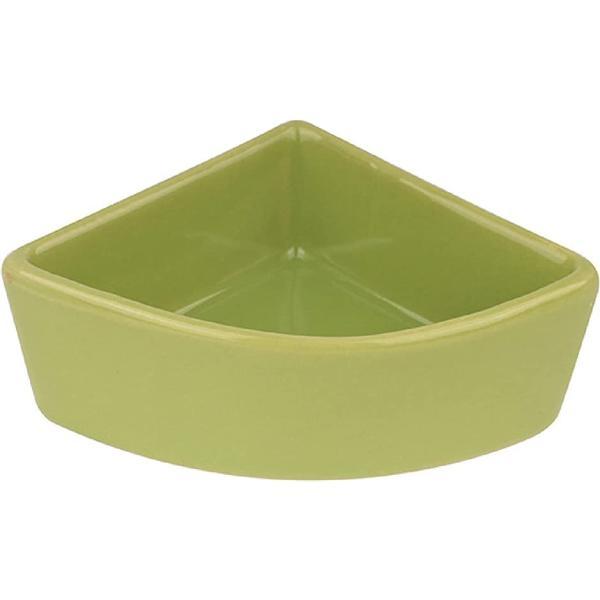ハムスター ハリネズミ えさ皿 餌入れ 三角 モルモット ペット 小動物用 陶器 食器 フードボウル 餌やり 水やり 給水(グリーン)