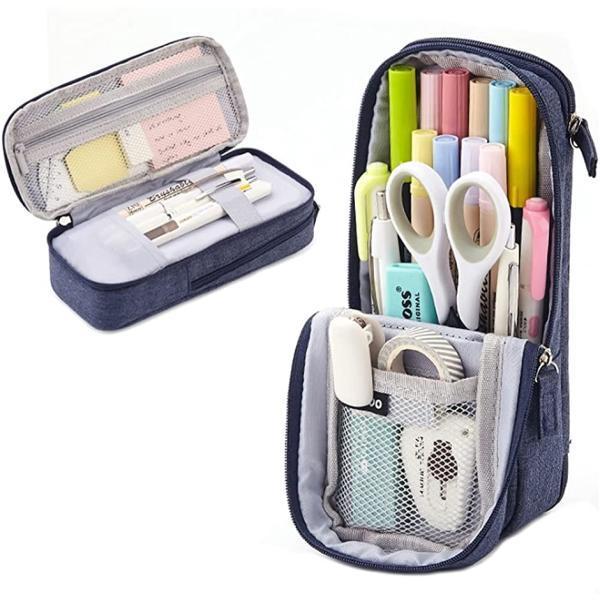 ペンケース 大容量 立つ 筆箱 多機能 タテヨコ シンプル ペンポーチ 筆袋(ネイビー)