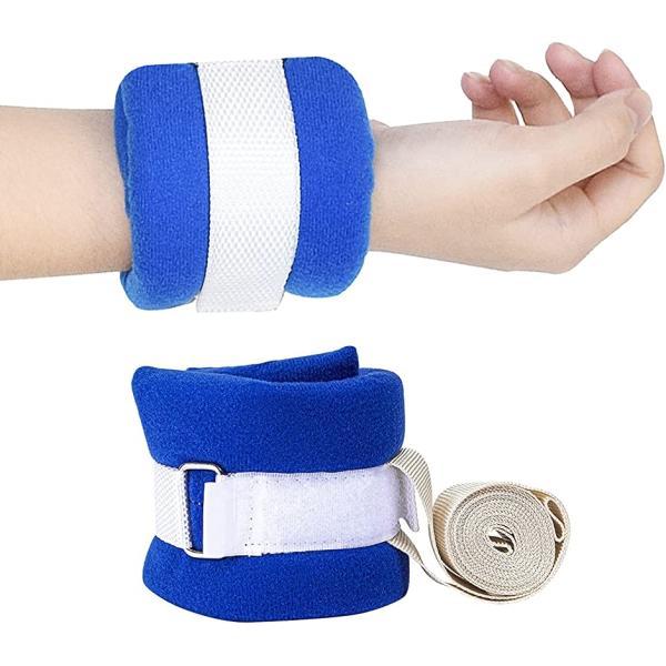 介護ベルト 手足 車椅子 介護自傷 カキムシリ 手足用ホルダー 固定 左右兼用(青, 約31cmx8cm)