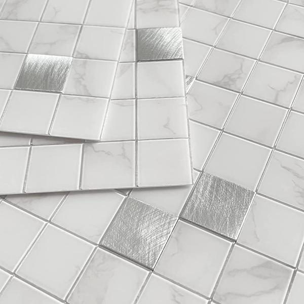 キッチン耐熱タイル シート防水タイルシール洗面 所,モザイクタイル壁紙 シールDIY 5枚 MDM(白い大理石と金属)