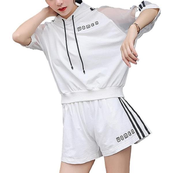 アイビーストアーレディースジャージセットアップパジャマルームウェア部屋着スウェットパーカー半袖(ホワイト,XL)