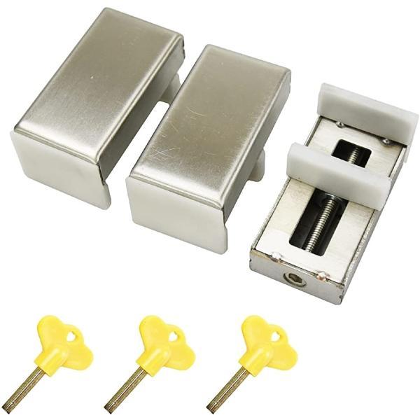 防犯窓用ロック 引き戸ストッパー 後付け いたずら防止 防犯対策 取り付け簡単 鍵付き(3個セット)
