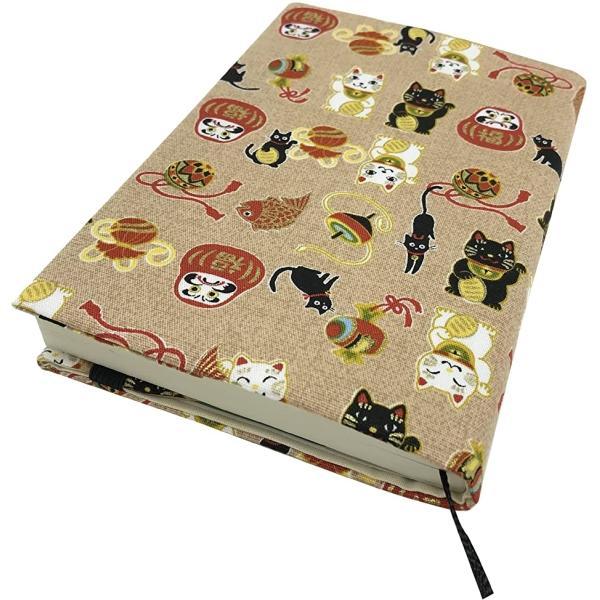 文庫本カバー ブックカバー A6サイズ 調整可能 読書 日本製 しおり付き 和雑貨 おしゃれ プレゼント(大福猫ベージュ)