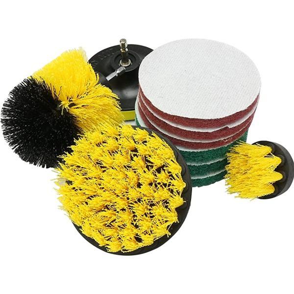 掃除ブラシセット 電動ドリル用 ポリッシャー スポンジ パッド 床 タイル トイレ ホイール 10点セット