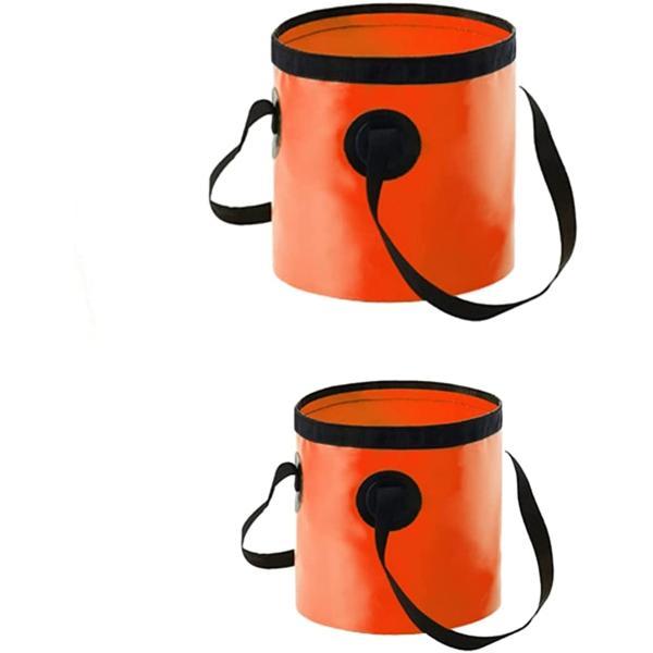 エレクトリックサーカス 折りたたみ バケツ 2個 多機能 持ち運び コンパクト 容器 アウトドア 作業 釣り 洗車 DIY(オレンジ)
