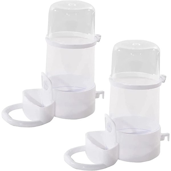 給餌器 給水器 自動 鳥 小動物 ハムスター インコ 置き型 餌入れ 2個(白)