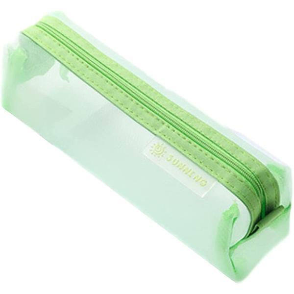ペンポーチ 筆箱 ペンケース 筆入れ 透明 学生 大容量 ペン入れ クリア シンプル 文具ケース(黄緑)