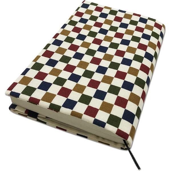文庫本カバー ブックカバー A6サイズ 調整可能 読書 日本製 しおり付き 和雑貨 おしゃれ プレゼント(市松)