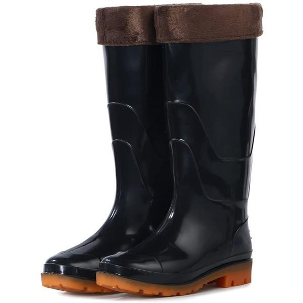 ブラック PVC 塩化ビニール 長靴 作業 耐油 防水 レインブーツ 抗菌防臭加工 ハイカット 脱げない(ブラック, 26.0 cm)