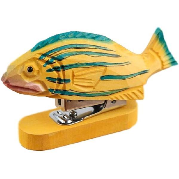 ホッチキス ホチキス 木製 木彫り 彫刻 ユニーク かわいい ハンディ ステープラー(魚, 横9cm x 縦3cm x 高さ10cm)