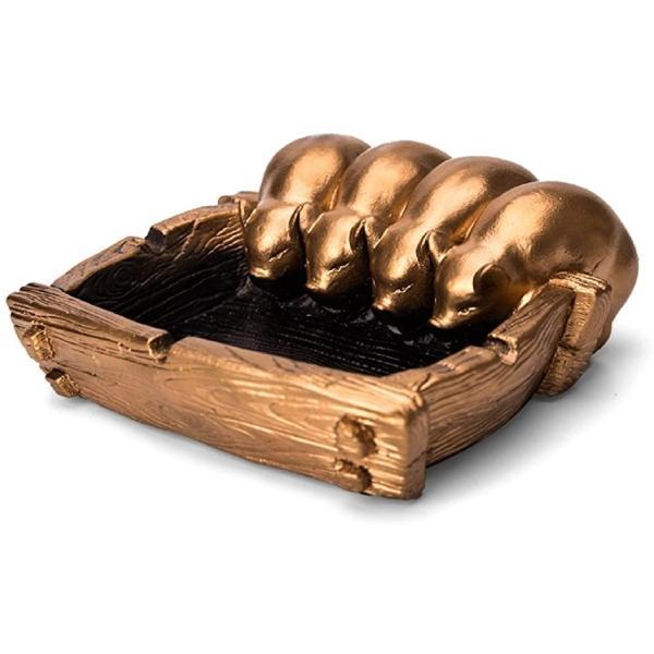 灰皿 豚 アンティーク インテリア 雑貨 レトロ 卓上 おしゃれ はいざら(ゴールド, 縦15cm x 横15cm x 高さ6cm)