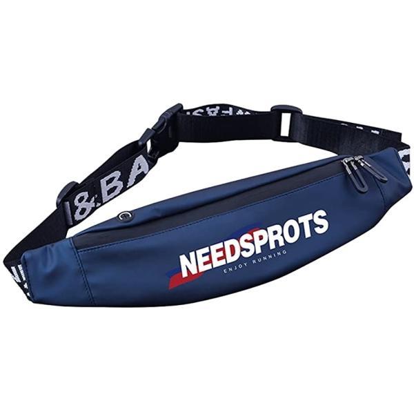 ランニング ポーチ ウェストバック 軽量/大容量 防水 小物入れ スポーツ ウエストポーチ イヤホンホール付き メンズ(Blue)
