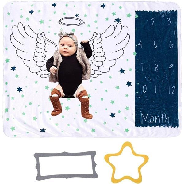 アイビーストアー 新生児 ベビー 子供 寝相アート 月齢フォト おくるみ マイルストーン 撮影シーツ 成長記録 贈り物(天使)