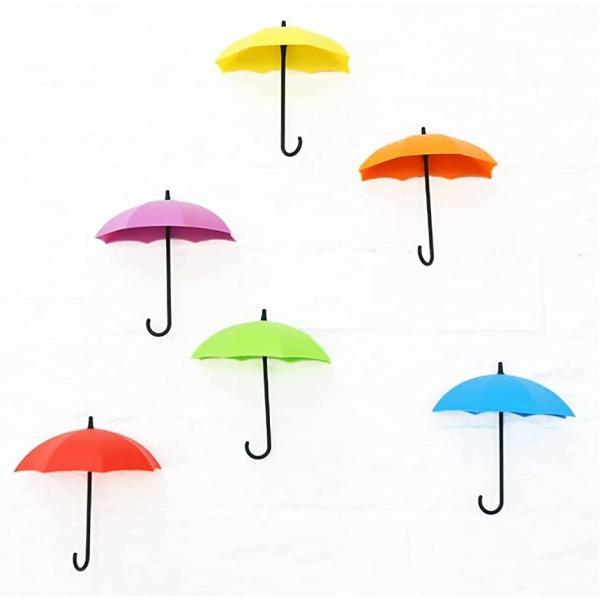 傘 フック 鍵 掛け 小物入れ おしゃれ 玄関 アンブレラ ミニ インテリア 6色セット(カラフル)