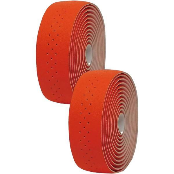 morytrade バーテープ ロードバイク グリップテープ クロスバイク 穴あき バーエンド(オレンジ)