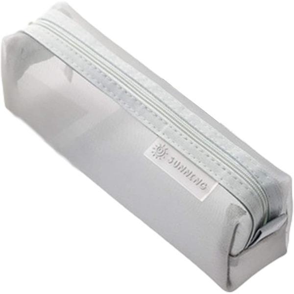 ペンポーチ 筆箱 ペンケース 筆入れ 透明 学生 大容量 ペン入れ クリア シンプル 文具ケース(グレー)