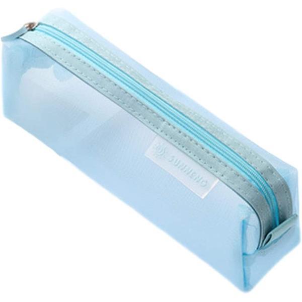 ペンポーチ 筆箱 ペンケース 筆入れ 透明 学生 大容量 ペン入れ クリア シンプル 文具ケース(水色)