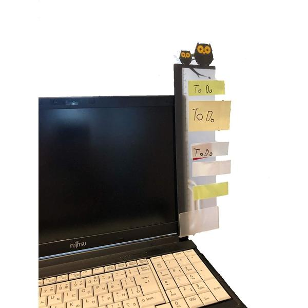 パソコン 付箋 ボード ディスプレイ メッセージボード 左右2個 アクリル 透明ボード スマホスタンド ルーラー(ふくろう)
