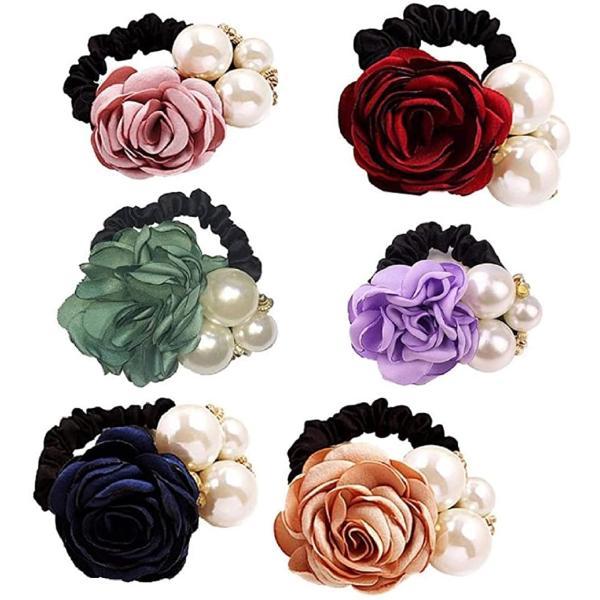 シュシュ ヘア ゴム おしゃれ 花 飾り パール フラワー バラ 結婚式 髪 コサージュ アクセ かわいい ローズ h02(6色セット)