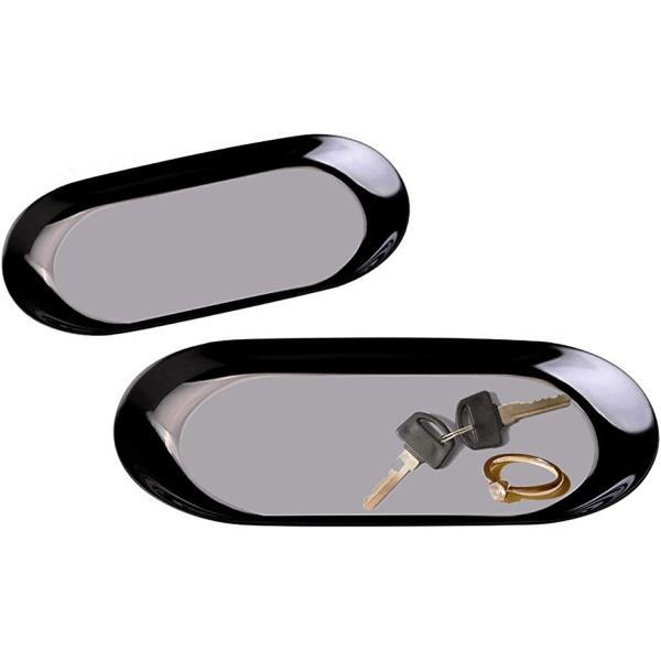 ティアニーズ コイントレー 釣り銭トレー キャッシュトレイ ステンレス 鍵おき お会計皿 玄関トレー 小物置き 楕円形(ブラック)