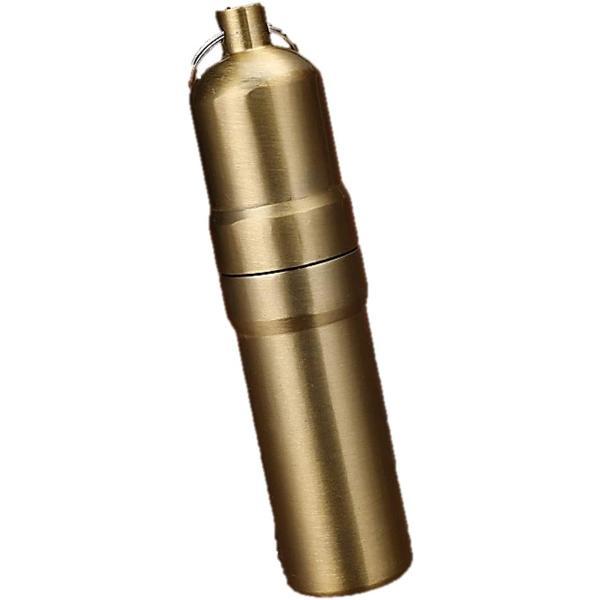 携帯 タバコケース ピルケース 防水ケース 薬ケース マッチ シガレットケース キーホルダー アルミ 03(03 ゴールド, 5本仕様)