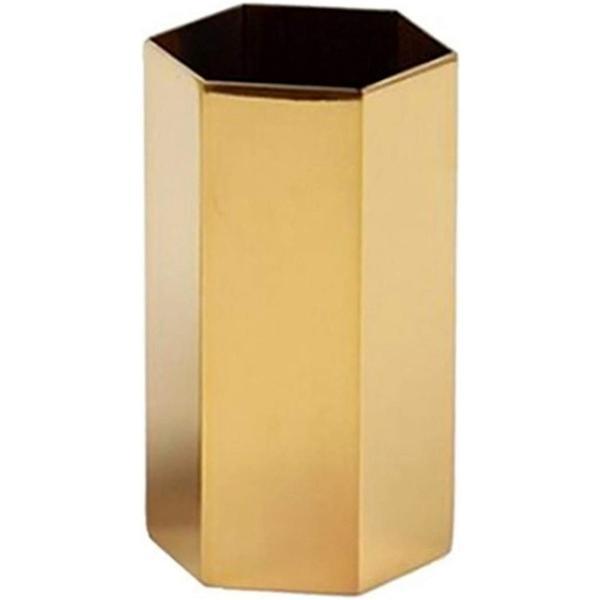 小物入れ 花瓶 ペン立て メガネスタンド フラワーベース 六角 ステンレス製(ゴールド)