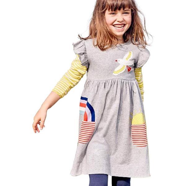 セウルブルー 手作り デザイナーズ 刺繍 ワンピース チュニック キッズ ガールズ 子供服 鳥 虹 太陽(グレー, 130)