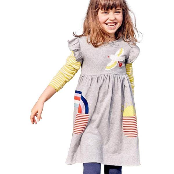 セウルブルー 手作り デザイナーズ 刺繍 ワンピース チュニック キッズ ガールズ 子供服 鳥 虹 太陽 灰色 女児(グレー, 120)