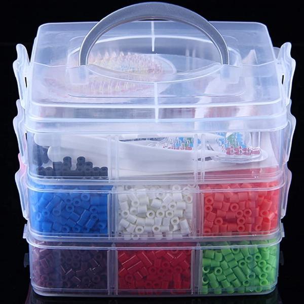アイロンビーズ わくわくキット 5mm 12色 約9000粒 透明プレート ピンセット アイロンペーパー 3段ケース