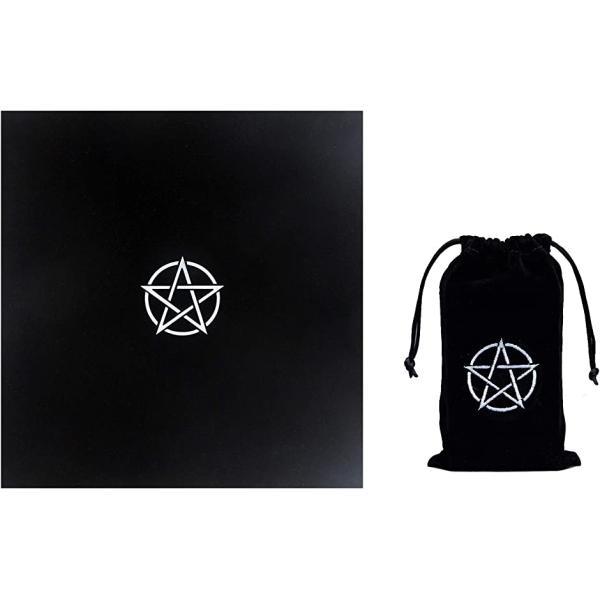 ペンタグラム タロットクロス 50cmx50cm 五芒星 刺繍 ポーチ 2点セット(黒)