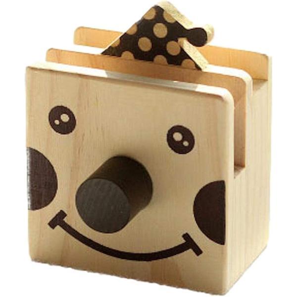 ペンスタンド 木製 アニマル かわいい メガネスタンド ペン立て 卓上収納 ケース インテリア 机(ピエロ, 縦10cmx横8cm)