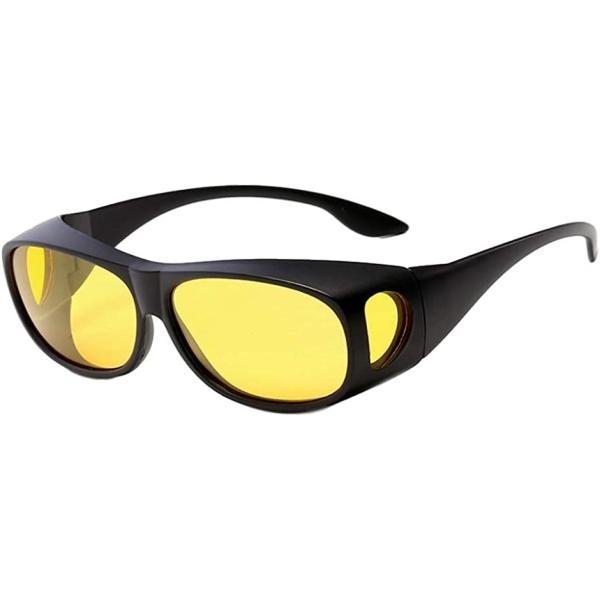サングラス メンズ おしゃれ 偏光 めがねの上から スポーツ 運転用 釣り オーバーサングラス uv(イエロー/黄色)