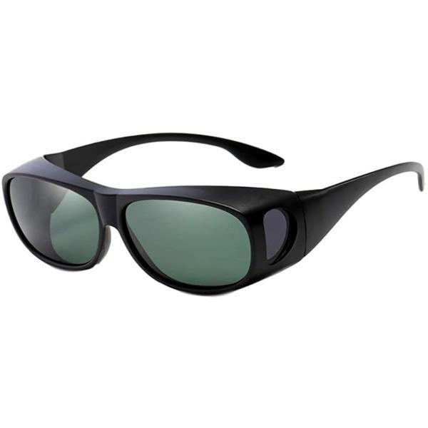 サングラス メンズ おしゃれ 偏光 めがねの上から スポーツ 運転用 釣り オーバーサングラス uv(マットブラック)