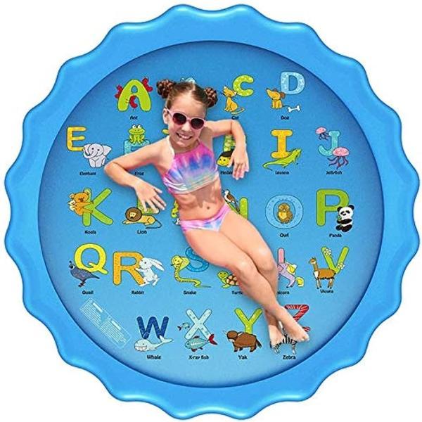噴水マット 26の文字と対応する単語こども用 噴水おもちゃ ビニールプール プレイマット プール噴水 みずあそび 芝生遊び 夏の庭