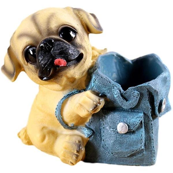 クイーンビー ミニチュア 犬 ペンスタンド 立て かわいい おしゃれ 小さい 卓上 収納 ケース(B, 縦12cm x 横11cm)
