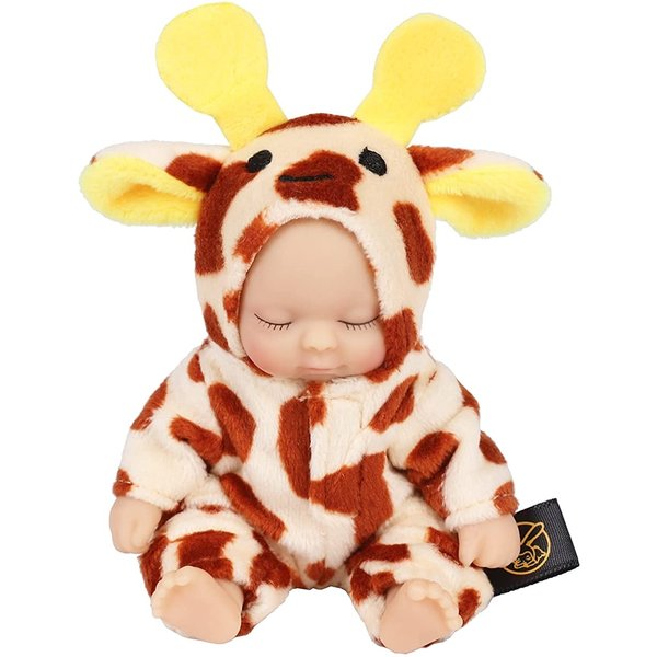 赤ちゃん人形リボンドールキーホルダーミニチュアリアルベビーコレクションベイビー(キリン)