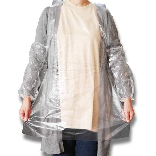 使い捨て エプロン 透明 袖付き アーム カバー 100枚 セット 防水 業務用(クリア, エプロン&アームガード100枚セット)