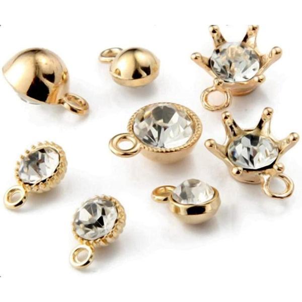 ビジュー チャーム ゴールド アクセサリーパーツ ピアスパーツ キラキラ charm 30個 6種(ゴールド)