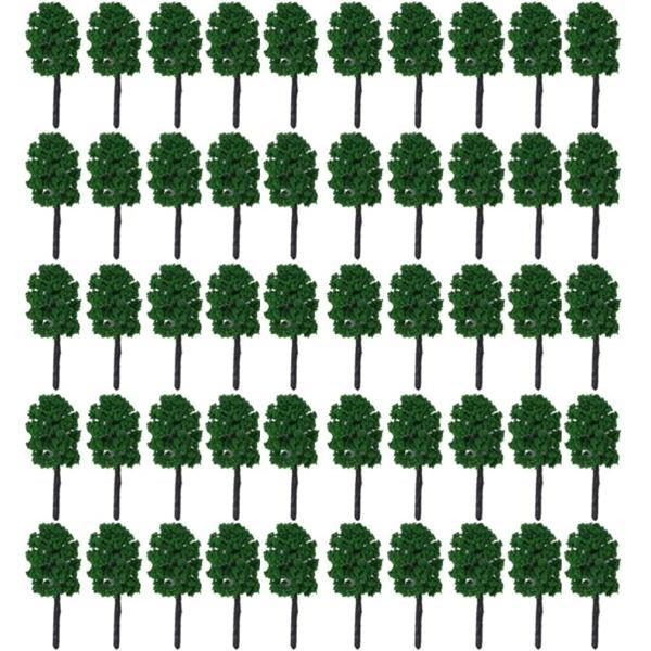 森林Nゲージジオラマ鉄道建築模型用樹木風景3.5cm50本深緑(3.5cm,50本,深緑)