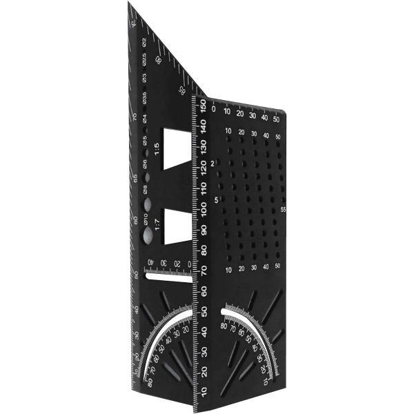 止型定規 木工定規 スコヤ けがき ステンレス 45/90度 角度定規 DIY(ブラック)