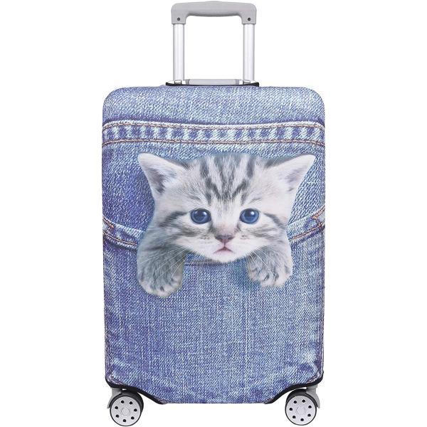 スーツケース 保護 カバー かわいい イヌ ネコ デニム トランクケース キャリーケース 伸縮 旅行 ブルー(猫・トラ(ブルー), S)
