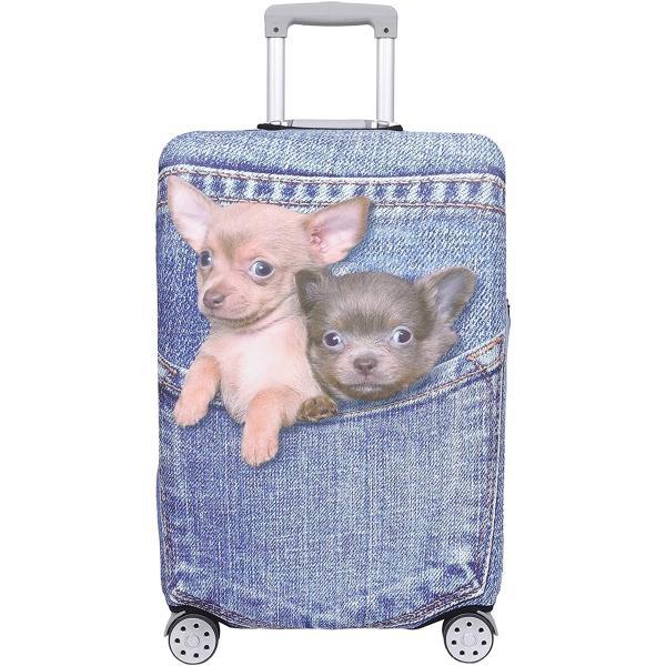 スーツケース 保護 カバー かわいい イヌ ネコ デニム トランクケース キャリーケース 伸縮 旅行(犬・ チワワ(ブルー), M)