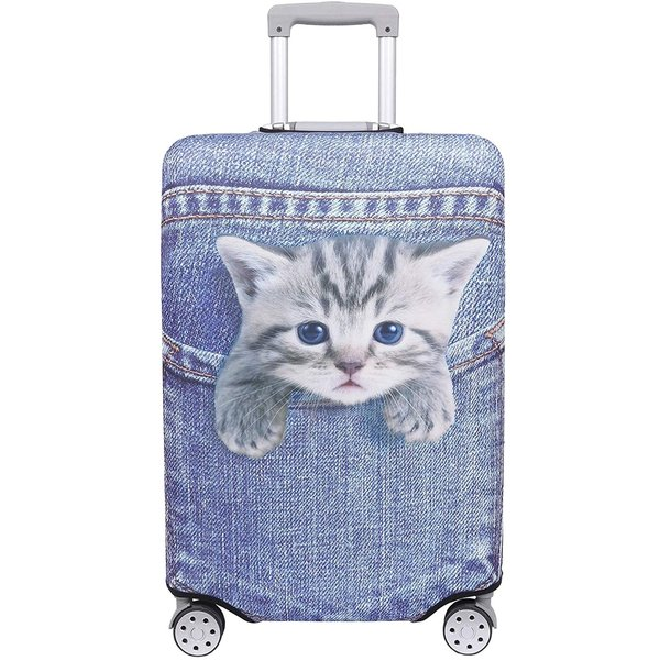 スーツケース 保護 カバー かわいい イヌ ネコ デニム トランクケース キャリーケース 伸縮 旅行 ブルー(猫・トラ(ブルー), L)