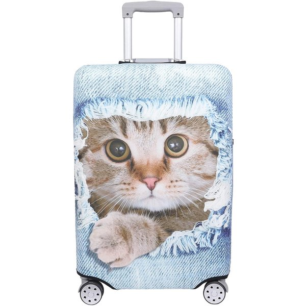 スーツケース 保護 カバー かわいい イヌ ネコ デニム トランクケース キャリーケース 伸縮 MDM(猫・ 茶トラ(ライトブルー), L)