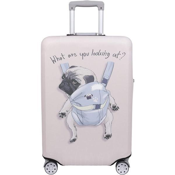 スーツケース 保護 カバー かわいい イヌ ネコ デニム トランクケース キャリーケース 伸縮 旅行 MDM(犬・ パグ(アイボリー), S)