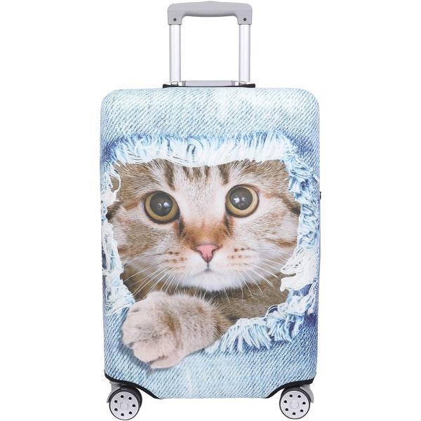 スーツケース 保護 カバー かわいい イヌ ネコ デニム トランクケース キャリーケース 伸縮 MDM(猫・ 茶トラ(ライトブルー), XL)