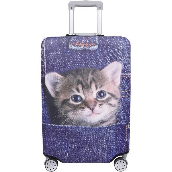 スーツケース 保護 カバー かわいい イヌ ネコ デニム トランクケース キャリーケース 伸縮 旅行 MDM(猫・トラ(インディゴ), L)