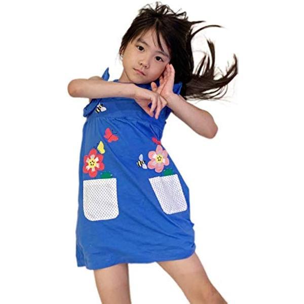 セウルブルー 手作り デザイナーズ 刺繍 ワンピース チュニック 90〜140 cm キッズ ガールズ 子供服(ブルー, 90)