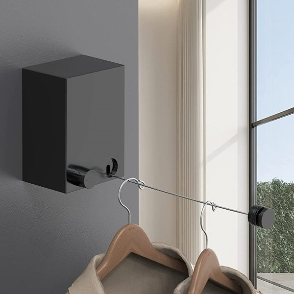 室内物干しワイヤー 黒 洗濯物干しワイヤー 最大耐重荷20KG ワイヤーの長さ4.3m ロープ伸縮可能 SUS304ステンレス 防水防錆